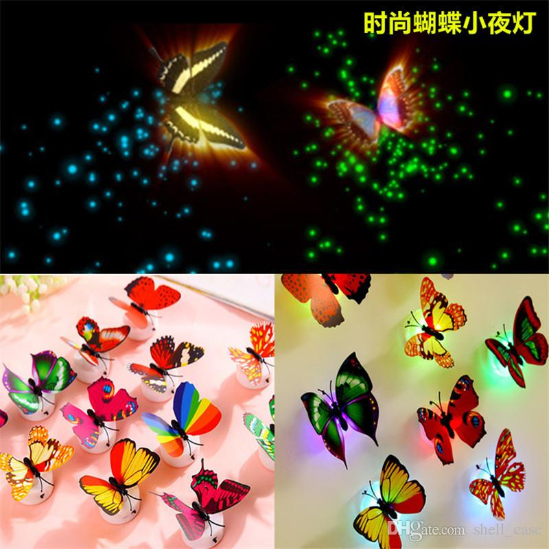 DIY LED Glowing 3D Butterfly Night Light Sticker Design Mural Home Wall Decal De