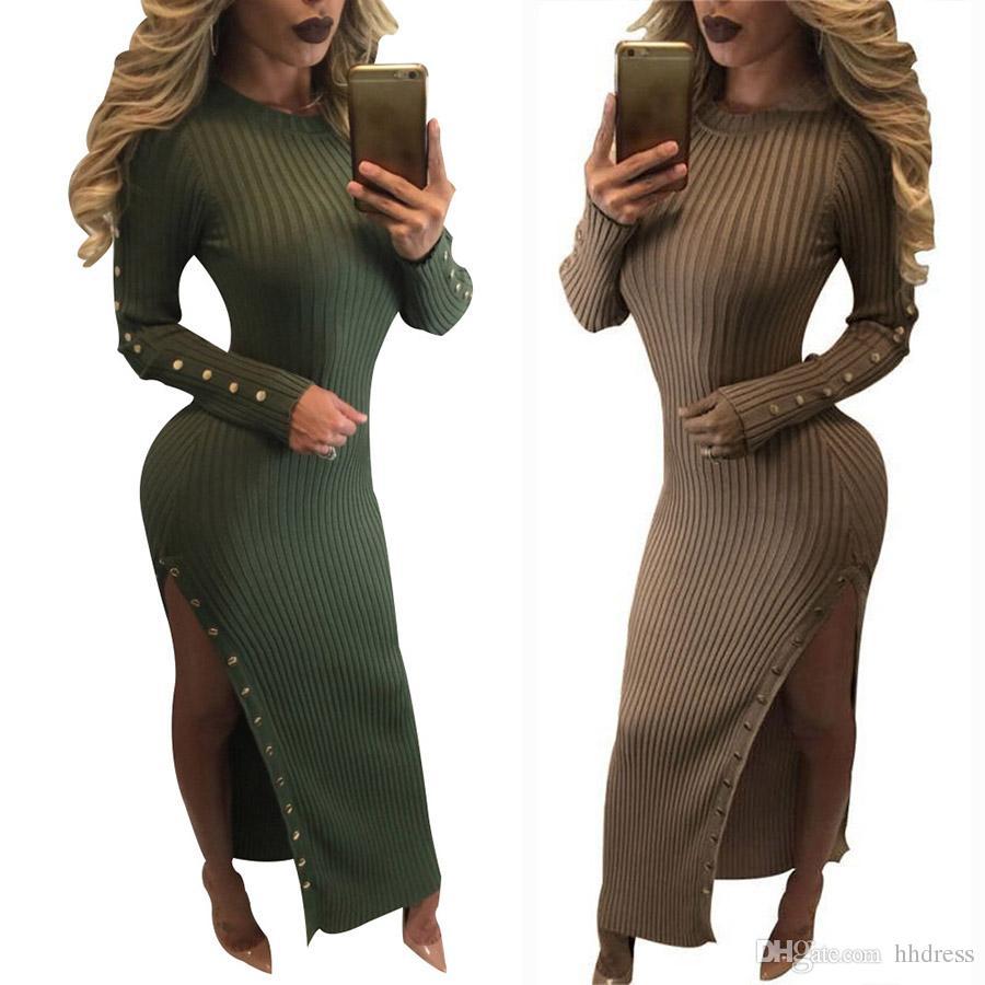 2017 Eurepn Women Long Sleeve Knitted Sweater plus size Scoop neck Sheath Sweater Splits Long Sweater Jumper Winter Dress for Ladies Girls