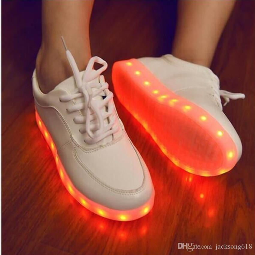 Bestseller 7 Colors LED Light Shoes PU Leather Girls Sneakers Women Led Shoe USB Luminous Footwear Fashion LED Shoes Size 35-46 1Set/Lot