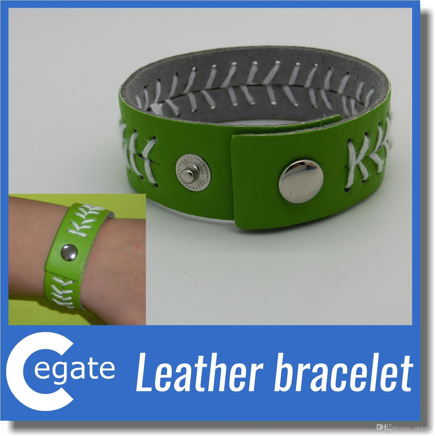 Leather Baseball or Softball sport Bracelet with Red Stitching and Snap Closure Sports Jewelry Bracelet