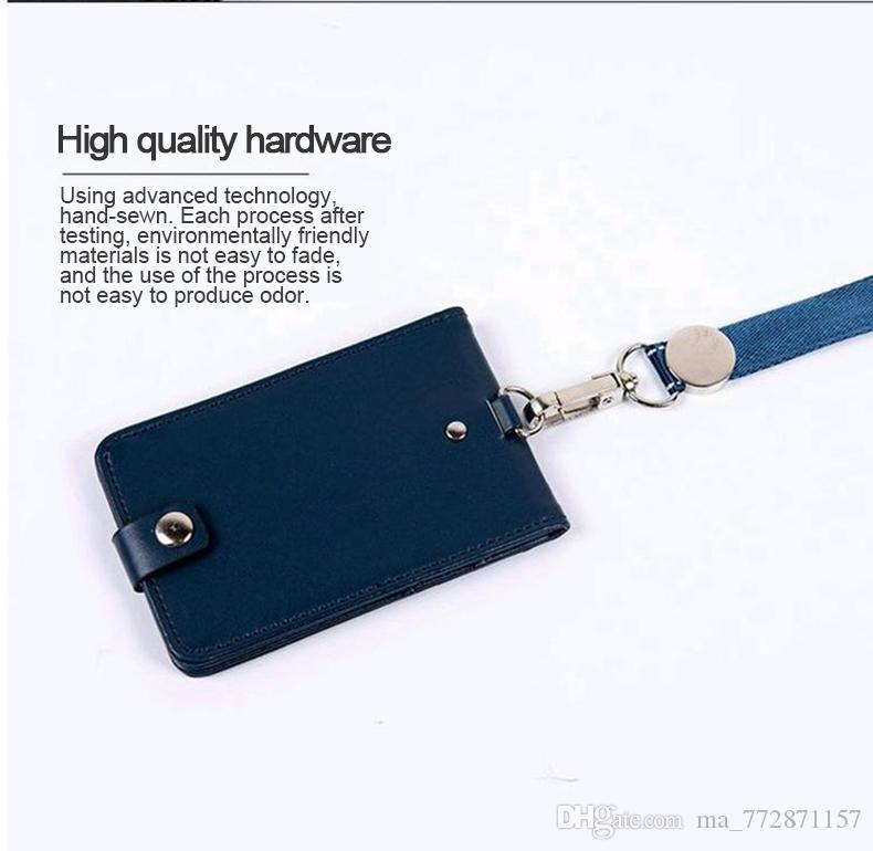 Lanyards Id Badge Holder Cute Name Tag Plastic Badge Real Leather Card Case  Holder Bank Credit Card Holders Office Supplie Men Women Busines Man Bags