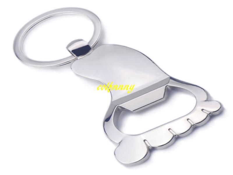 100pcs/lot Fast Shipping Sole Shaped Bottle Opener Keychain shaped zinc alloy Key Ring Beer Bottle Opener Creative Gift