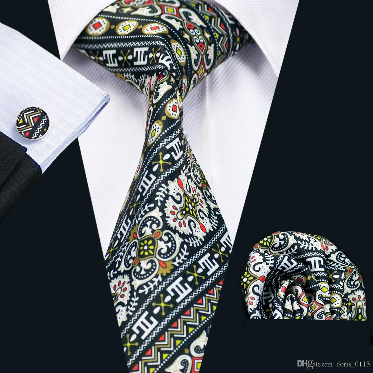 Moda Mens Laços Da Novidade Preto Branco Cor Mix Floral Impresso Wedding Business Tie Set Incluem Abotoaduras Gravata Hankerchief N-1228