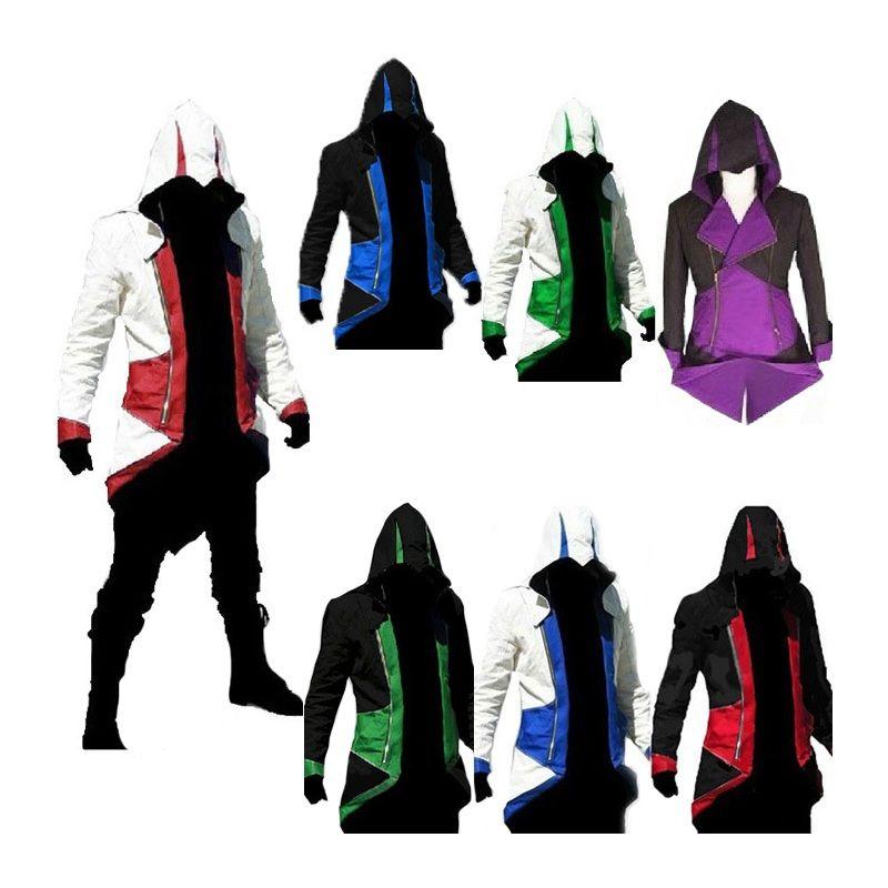 Fall-Assassins Creed 3 III Conner Kenway 남성 후드 티 자켓 Anime Cosplay 어쌔신 의상 Cosplay Coat Mens 스웨터 오버 코트