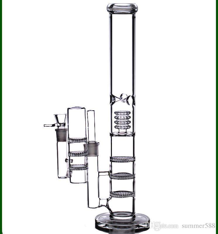 "17 ""de altura bongs de agua grandes 18mm recicladoras de aceite dab bubbler triple panal de ab fumador tubos de vidrio tazón colector de cenizas 18.8mm"