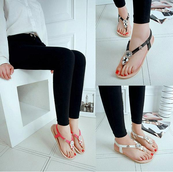 online shop discount hot sale Fashion New Bohemian Rhinestone Beaded Flat Sandals Thong Sandals ...