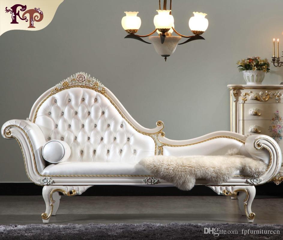 Versalhes Chaise Lounge Italiana Mobiliário Clássico, Europeu Clássico Antique Quarto Mobiliário de Luxo Madeira Sólida Chaise Loungue Frete Grátis