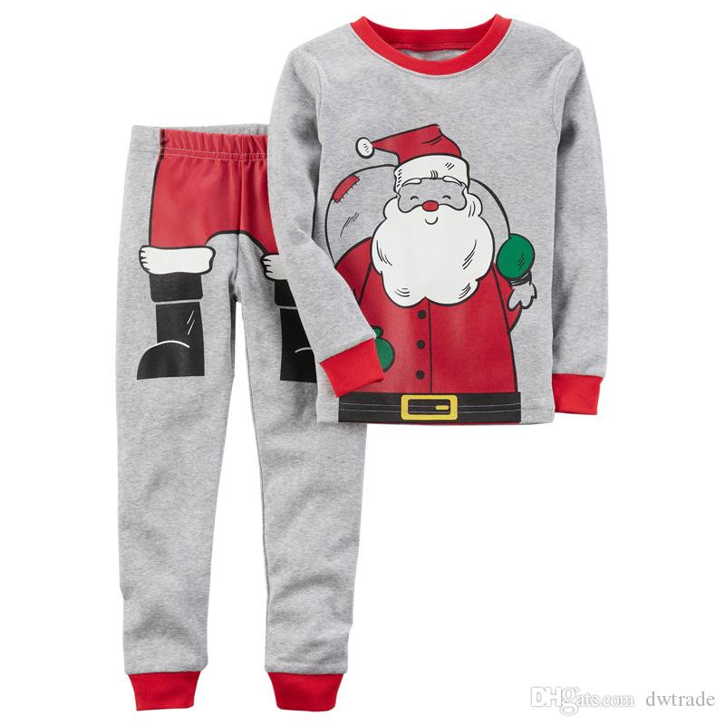 Children Christmas Santa Claus Outfits Cartoon Letter Printing with Pants 3pcs Set Xmas Baby Suits Kids Clothing