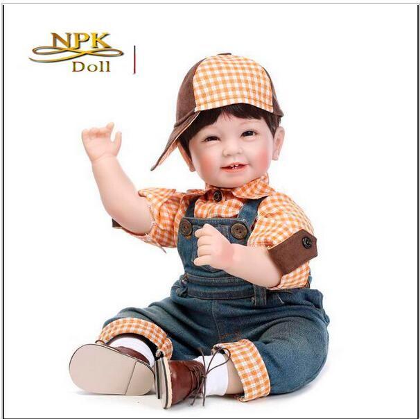 Nuovo arrivo Lovely 4 Denti Sorridente Boy Doll 22 pollici Silicone Reborn Baby Realistico Handmade Hobby collezione regalo di alta qualità