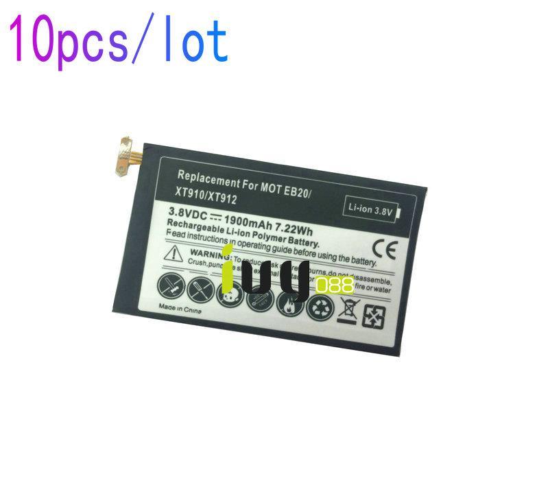 10PCS / 많은 1900mAh 사각형 SNN5899B 교체 배터리 모토로라 EB20 EB40 XT910 XT912 배터리 Batteria Baterij
