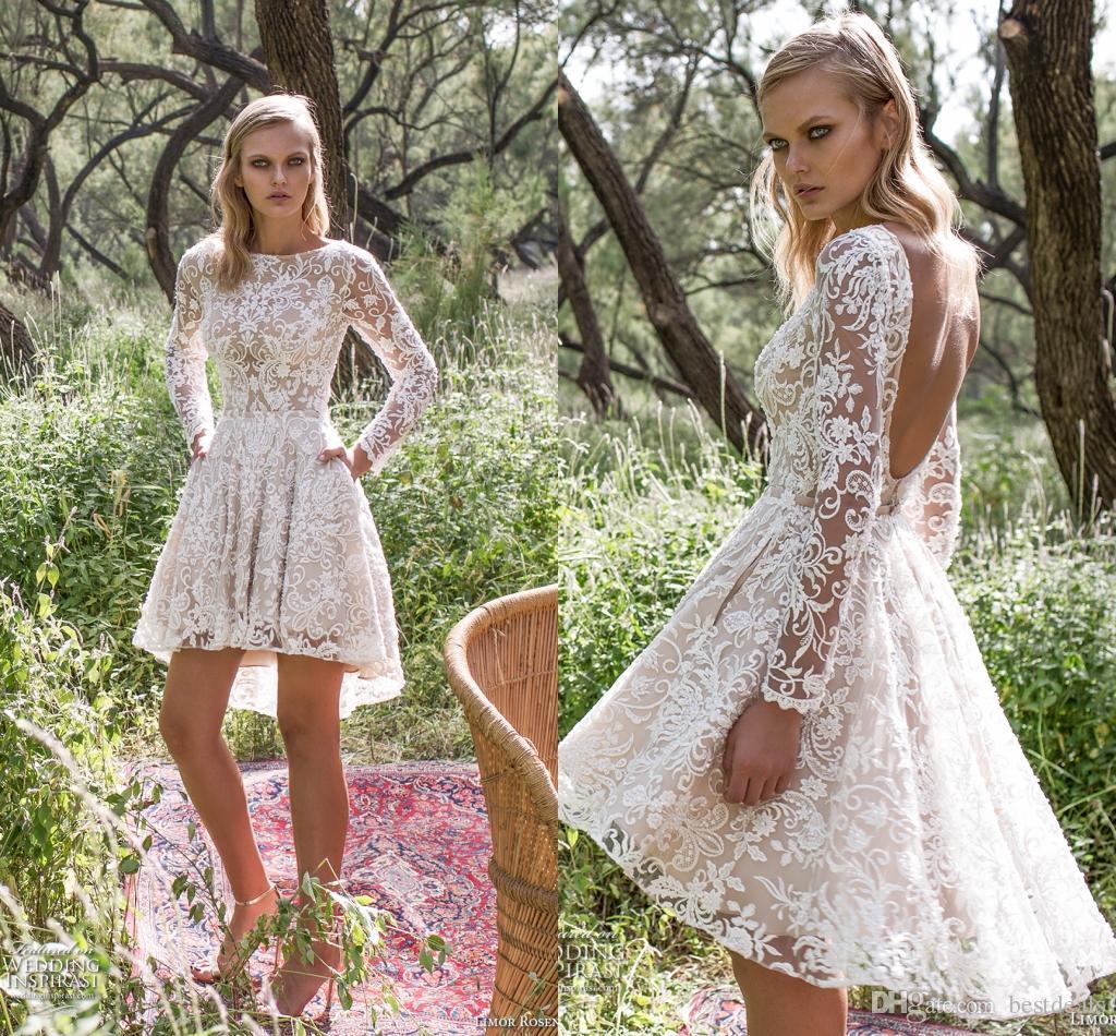 Discount Glamorous A Line Backless Short Lace Wedding Dresses 2016 Sexy Sheer Long Sleeves V Back Garden Bridal Gowns Halter Neck Wedding Dresses Pink