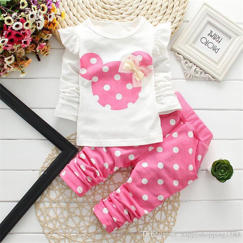 2e3a8b960297 Acheter Mickey Dots Bébés Mignons Tenues Vestimentaires Nouveau Nés  Ensembles + De Vêtements Pour Enfants Fixe Bébé Fille Top + Pantalon  Costume Enfants ...