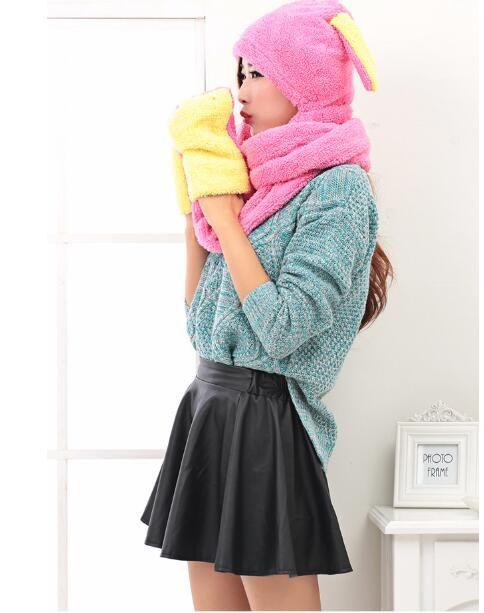 Wholesale-Korean plus velvet autumn winter scarf hat gloves three pieces in one set 225 cm length 15 cm width