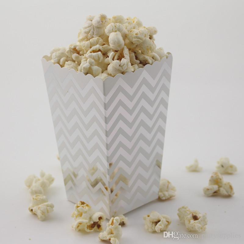 96 teile / los (8 paket) geburtstagsfeier papier Popcorn Boxen gold Chevron Dot Gestreifte geschenkbox / süßigkeitskiste / popcorn boxe beutel parteibevorzugung