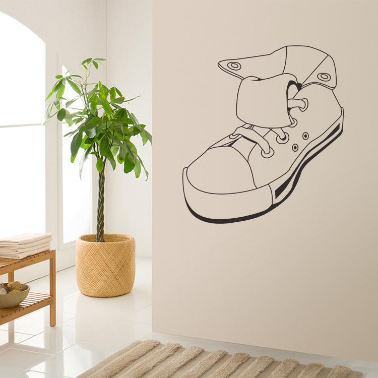 Sports Shoe Wall Sticker 42*46CM Sneaker Wall Decorative Decals for Living Room Bedroom and Boys Room Free Shipping