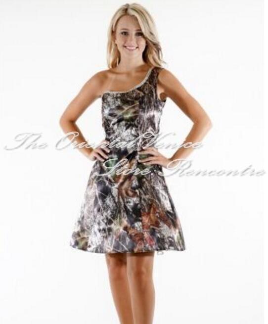 Cheap Mossy Oak Camo Bridesmaid Dresses Crystal One Shoulder Short ...