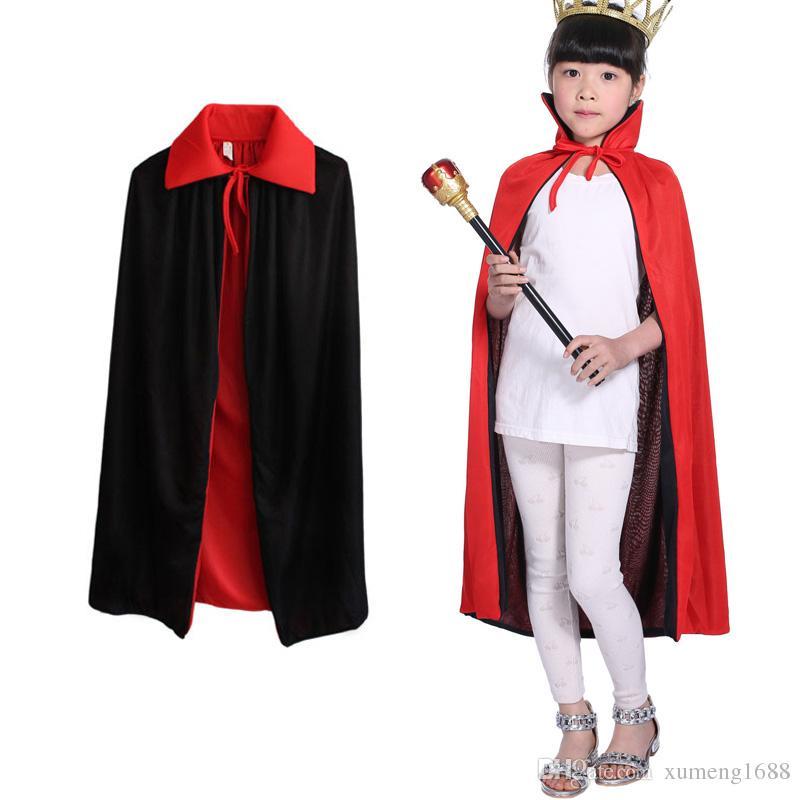 TAFFETA VAMPIRE CHILD CAPE BOYS GIRLS HALLOWEEN REVERSIBLE COSTUME CAPE