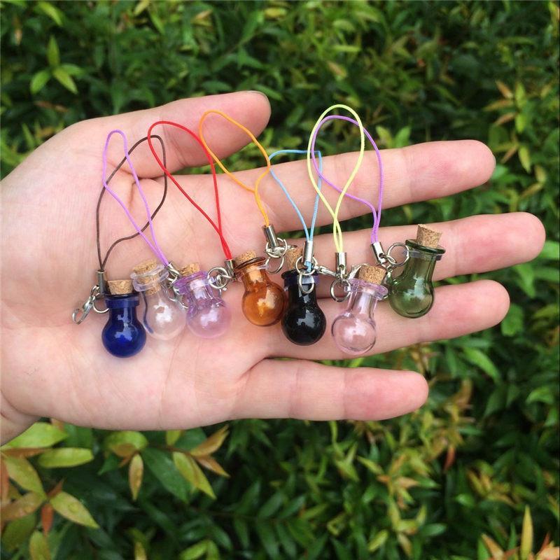Mini Glass Bottles Key Chain Pendants Lobster Clasp Glass Ball Bottles Corks Vial Arts Jars For Bracelets Mixed Colors (3)