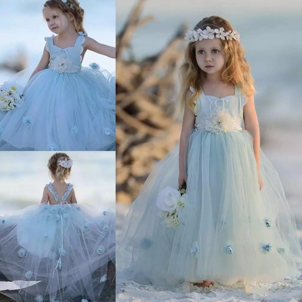 أحدث ضوء السماء الزرقاء زهرة بنات فساتين لحفلات الزفاف الطابق طول تول الاطفال الكرة بثوب رسمي ارتداء أكمام اللباس المسابقة الفتاة