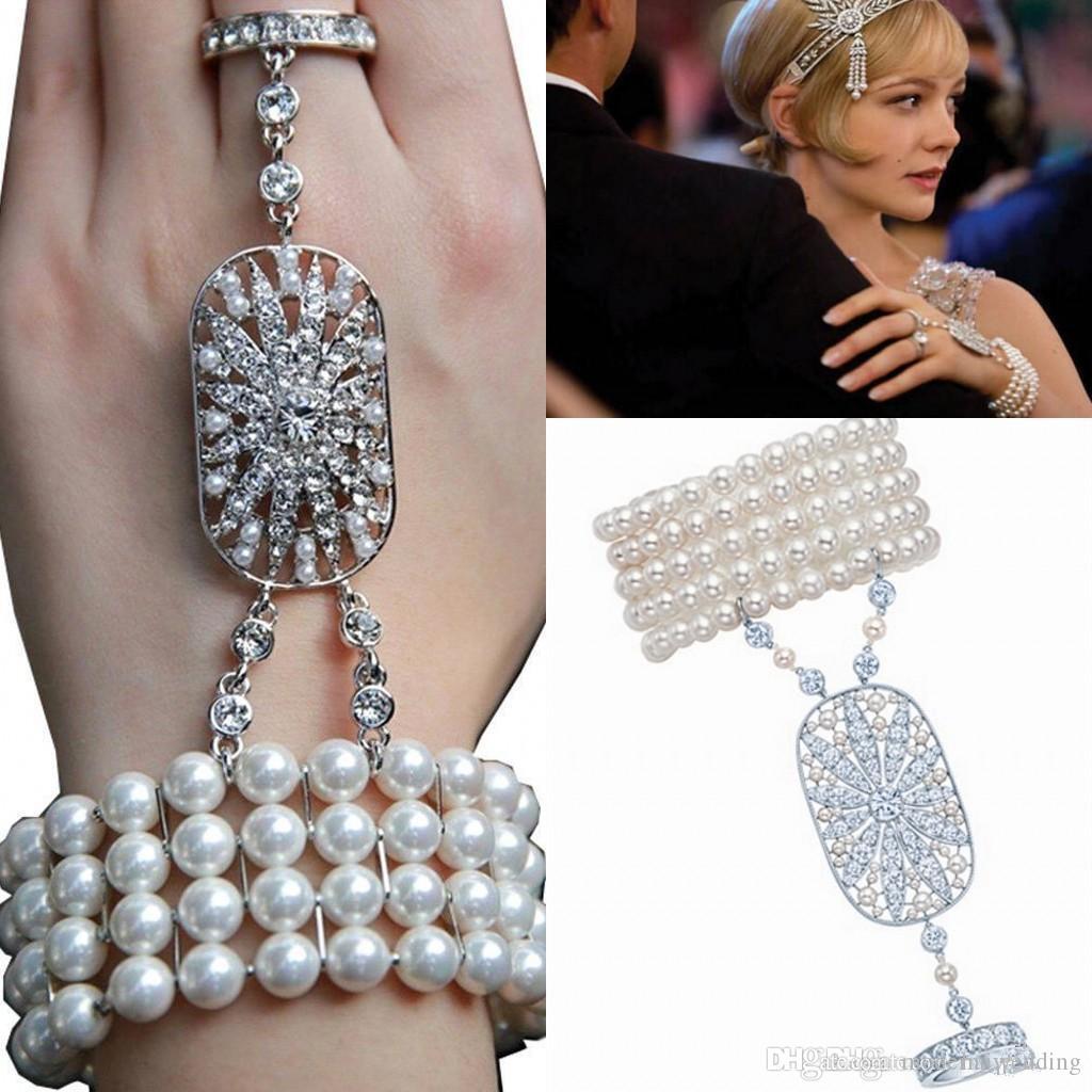 Barato Romatic Hot New jóias de casamento O Grande Gatsby Da Noiva Austríaca Da Da Da Da Da Da Da Mão Pulseiras GCrystal Luvas de pérolas Conjunto de Jóias de Noiva