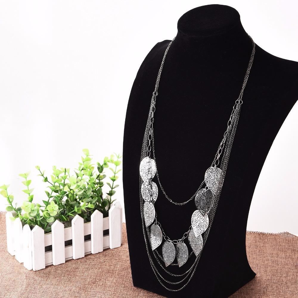 Großhandels-böhmische Art-Blatt-hängende Halskette lange Strickjacke-Kette Opulente Halskette