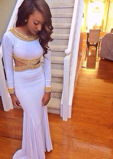 2016 Cheap 2K15 Prom Dresses Cutaway Sides Gold Beaded Jewel Neck Mermaid Party Evening Gowns Spandex Long Sleeves Sweep Train Occasion Gown