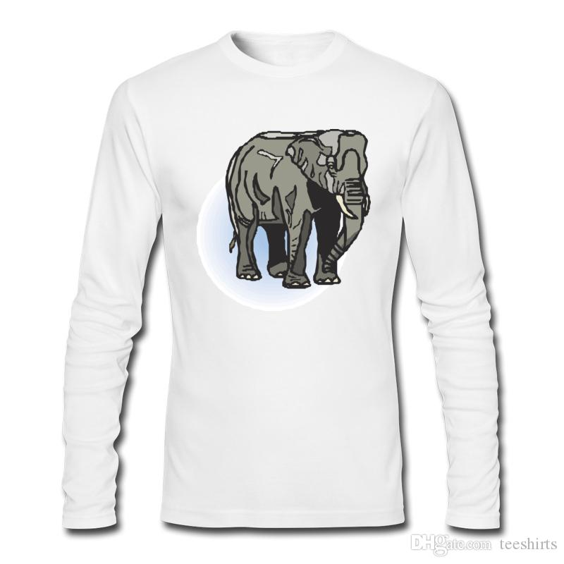 Big Elephant Print Men's T-shirt with Long Sleeve and Crew Neck T-shirts For Sports Men's Casual Style