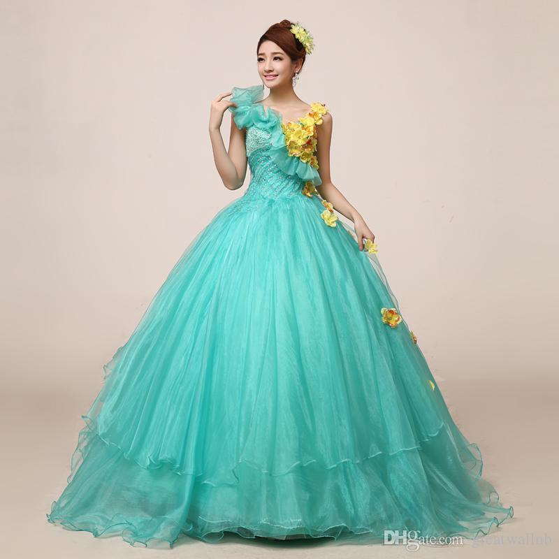Light Mint Green Strass gelbe Blume Gericht Mittelalterkleid Renaissance Kleid iqueen Victoria Belle Ball / Ballkleid