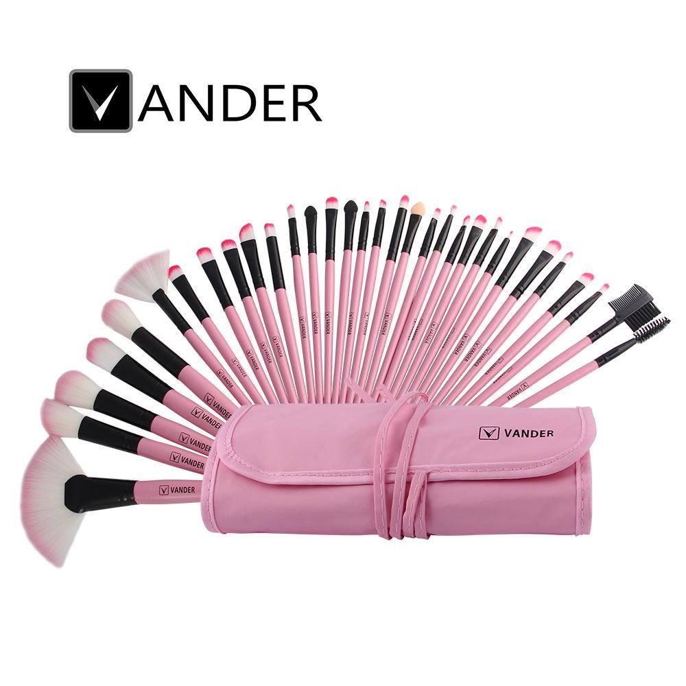 Vander PINK 32PCS Wool Makeup Brush Superior Soft Professional Cosmetic Makeup Brush Set Kit + Pouch Bag USA Store Free Shipping