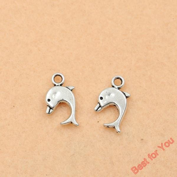 100pcs argento antico tono delfino pendenti di fascini monili di modo fai da te monili che fanno a mano fabbricazione di monili 13x9mm