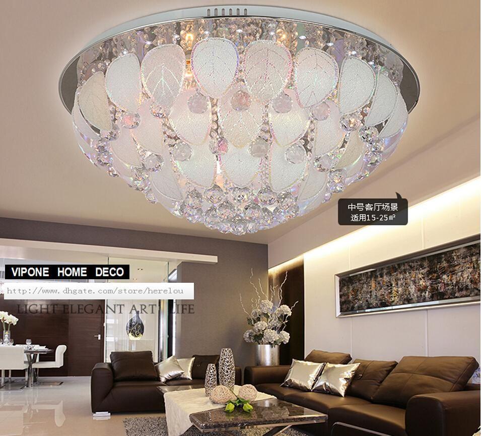 Продажа круглый кристалл свет потолок творческая спальня. Потолок оставляет лепестки. Потолок Из Нержавеющей Стали.Света Сид моделируя