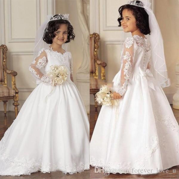 Modest Flower Girls Abiti per matrimoni Illusion maniche lunghe Little Bride Abiti formali Kids Pageant Gowns con pizzo Appliques Sweep Train