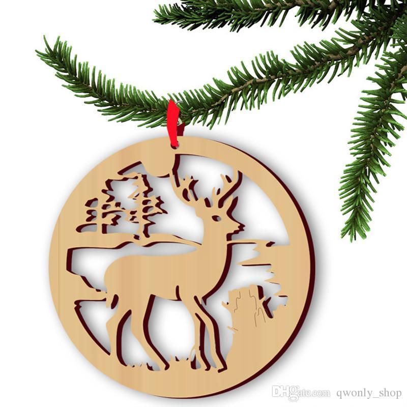 Weihnachtsrequisiten-Verzierungs-Weihnachtsbaum-hängende Dekor-Waren-Elchholz-Ren-Dekorationen Hauptfestival-Feiertags-Party kleidet 5pcs / lot