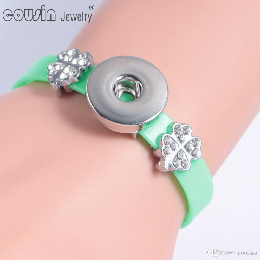 20pcs / lot 18mm Ginger bouton pression bouton bracelet coloré bracelets en silicone interchangeables bouton pression bouton bijoux bracelet pour les femmes SZ0006d