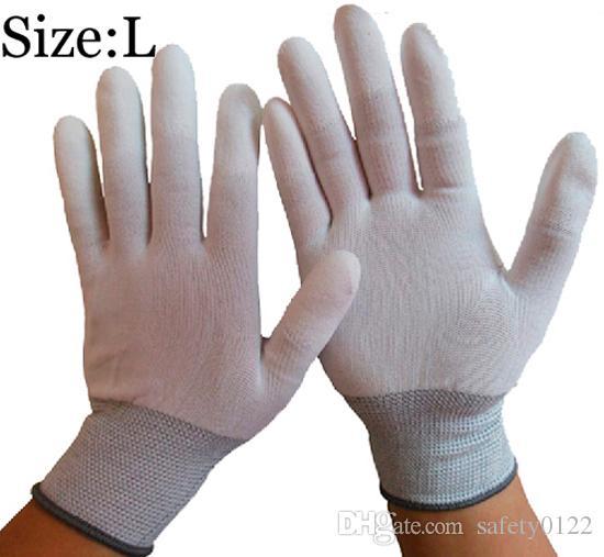Breathable 13 Needle Nylon Work Gloves PU Finger Coating Electronic Anti-static Gloves Labor Protection Safety Gloves