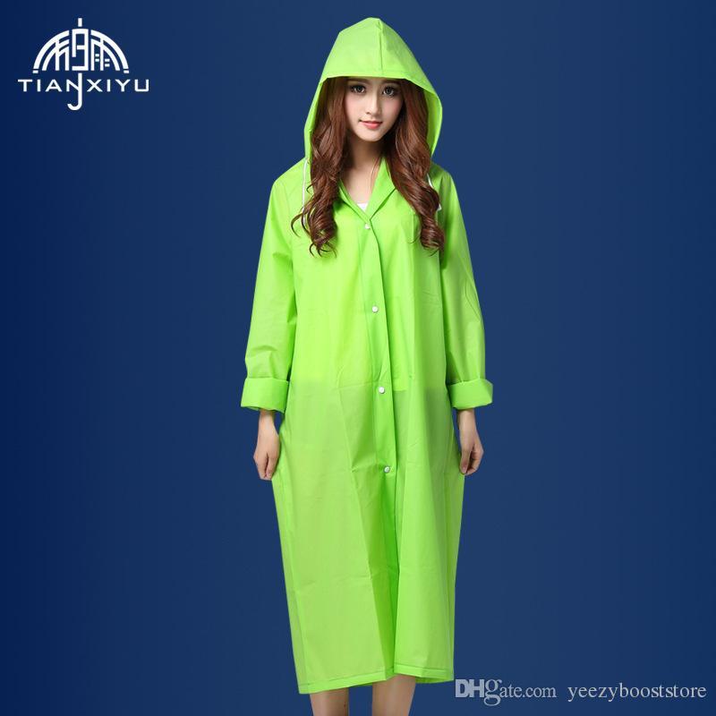 من السهل تحمل معطف المطر معطف الرياح إيفا المرأة مقنع معطف واق من المطر ماء شفاف المشي 1 لكل حزمة