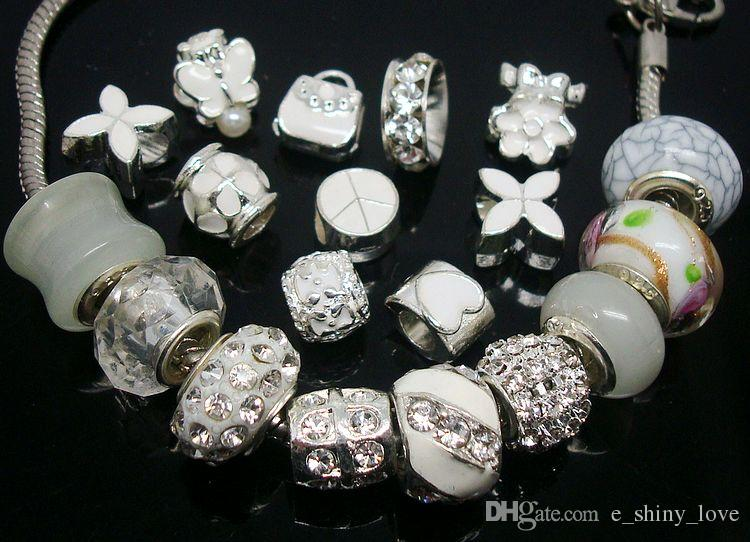 50pcs/Lot mixed White Charms Beads for Jewelry Making Big Hole Charms DIY Beads for European Bracelets Wholesale in Bulk Low Price