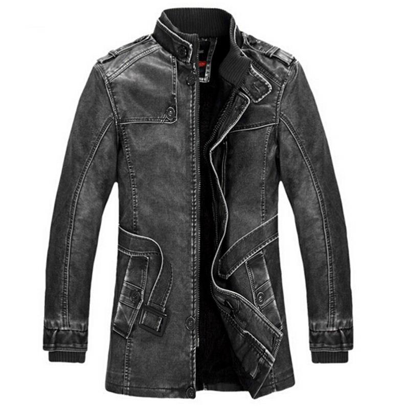 Leather Jacket men Slim Warm mens washed Leather Motorcycle Biker Jackets Standing Collar Coat Plus size XXXL outdoor parka