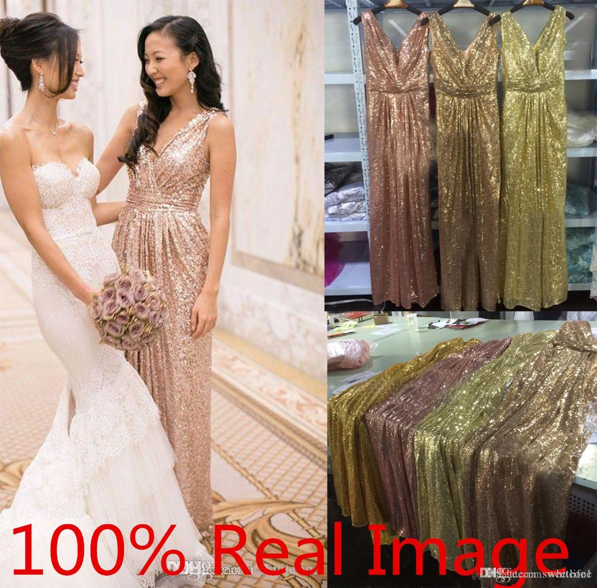 2020 Sexy V Neck Rose Gold Sequins Bridesmaid Dress Plus Size Backless Real Image Maid of the Honor Wedding Party Gowns