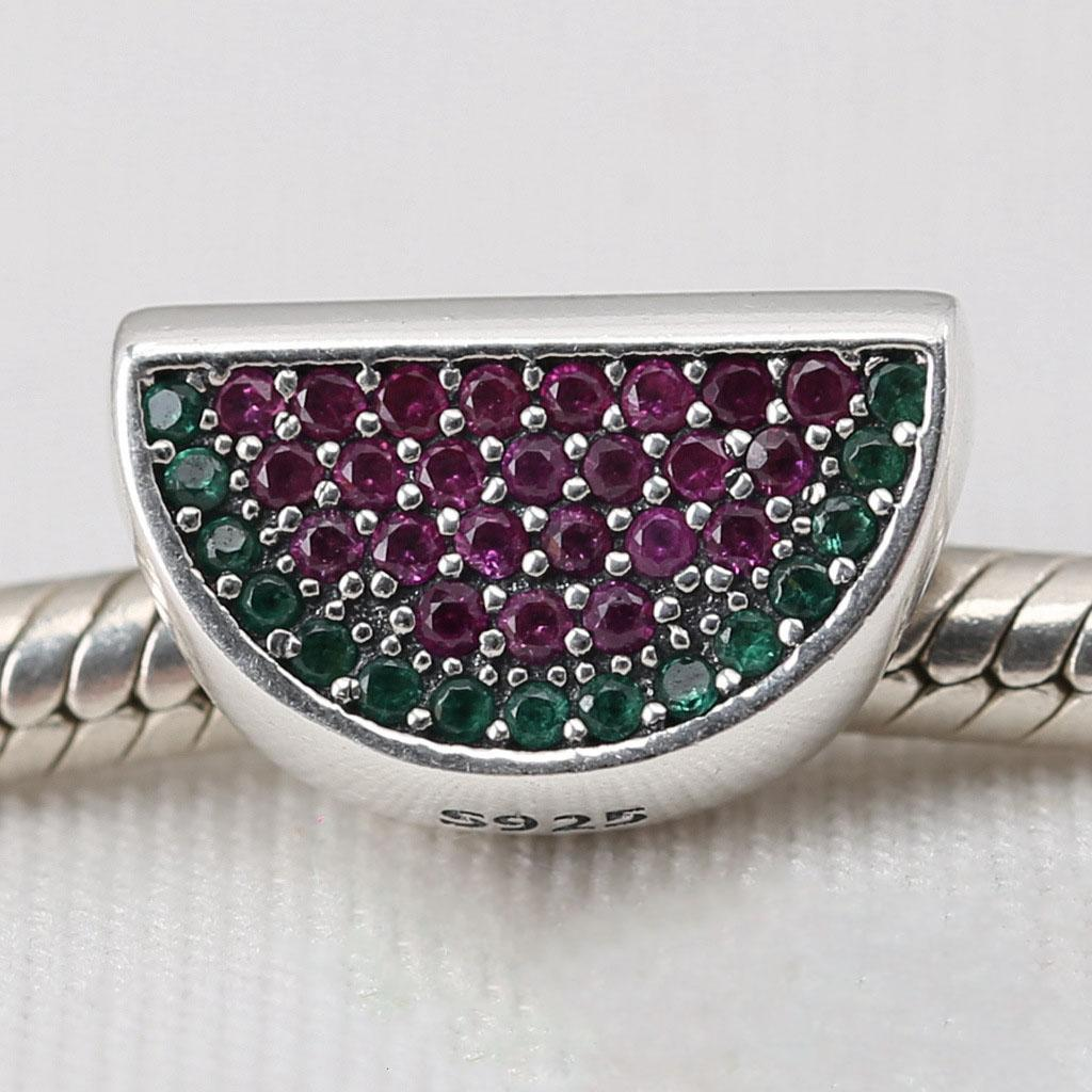 2016 NEW summer Authentic 925 sterling silver beads PAVÉ WATERMELON, RED & GREEN CZ fits for pandora Snake chain bracelets necklace charms