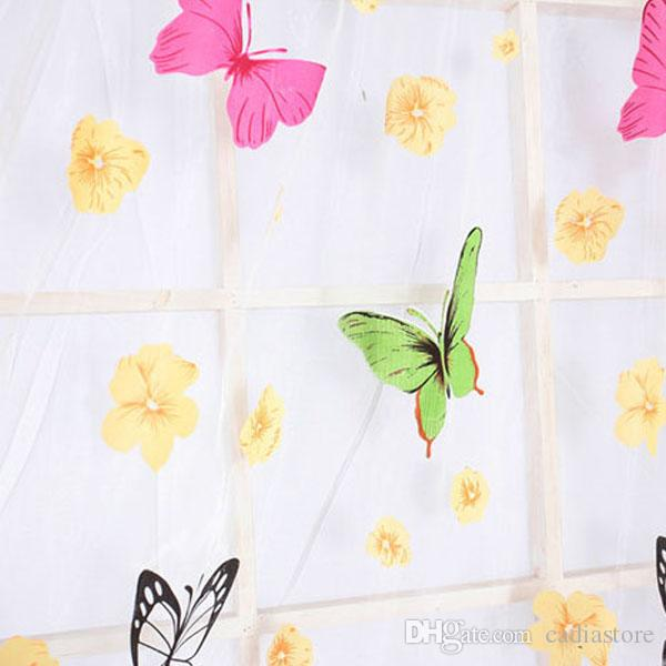Butterfly Print Sheer Curtain Panel Window Balcony Tulle Room ...