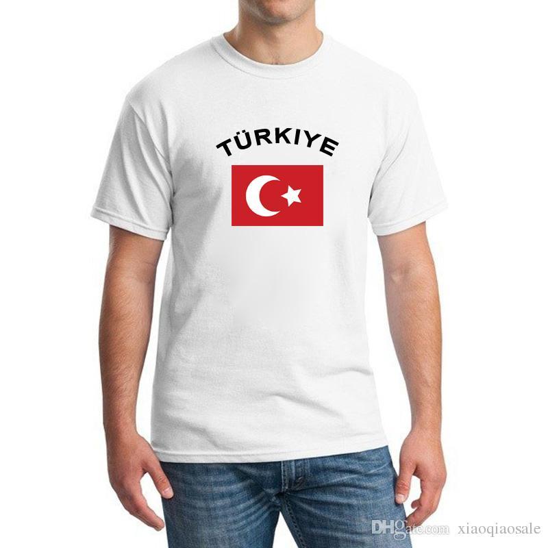 Die Türkei-Fußball-Fan-Beifall Shirts Europäische Schalen-Mode O-Kragen-weiße Farbstaatsflagge-Fußball trägt T-Shirts für Männer zur Schau