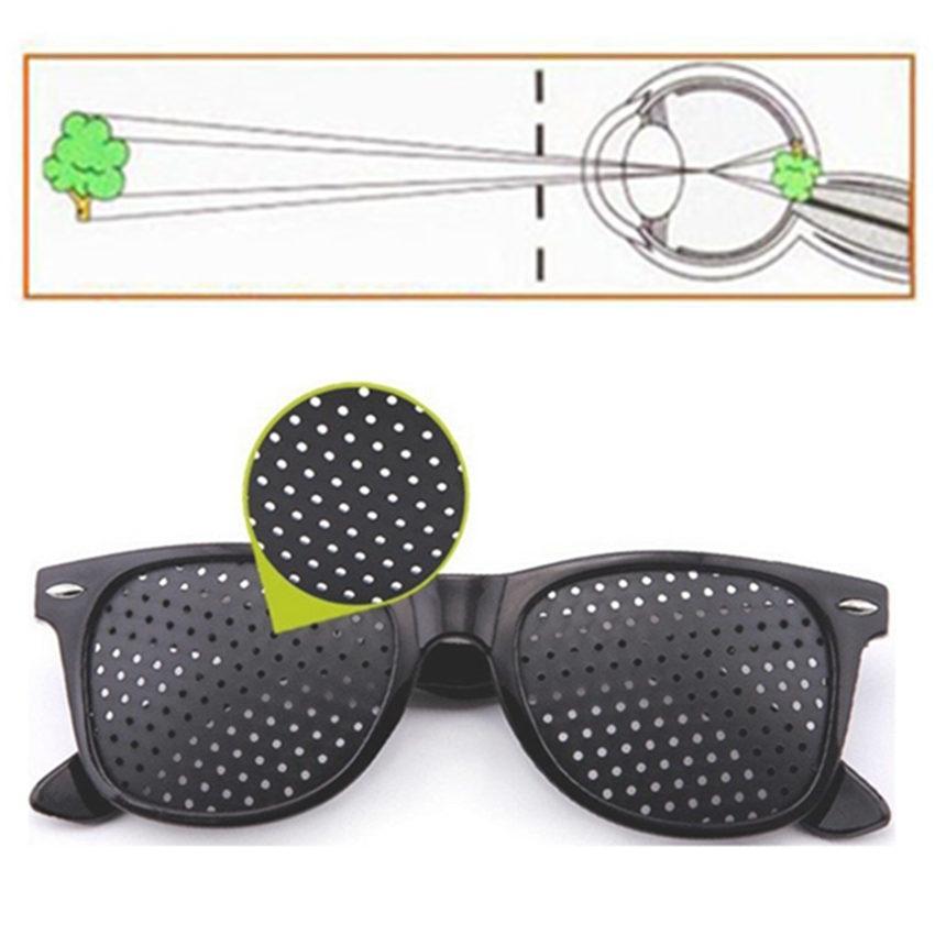 High quality Black Unisex Vision Care Pin hole Eyeglasses Pinhole Glasses Eye Exercise Eyesight Improve Plastic