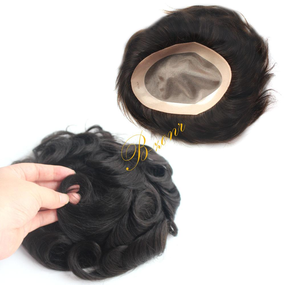 Human Hair Toupee for Men Slight Wave 32mm Men's Hair Replacement Systems Piece for Men