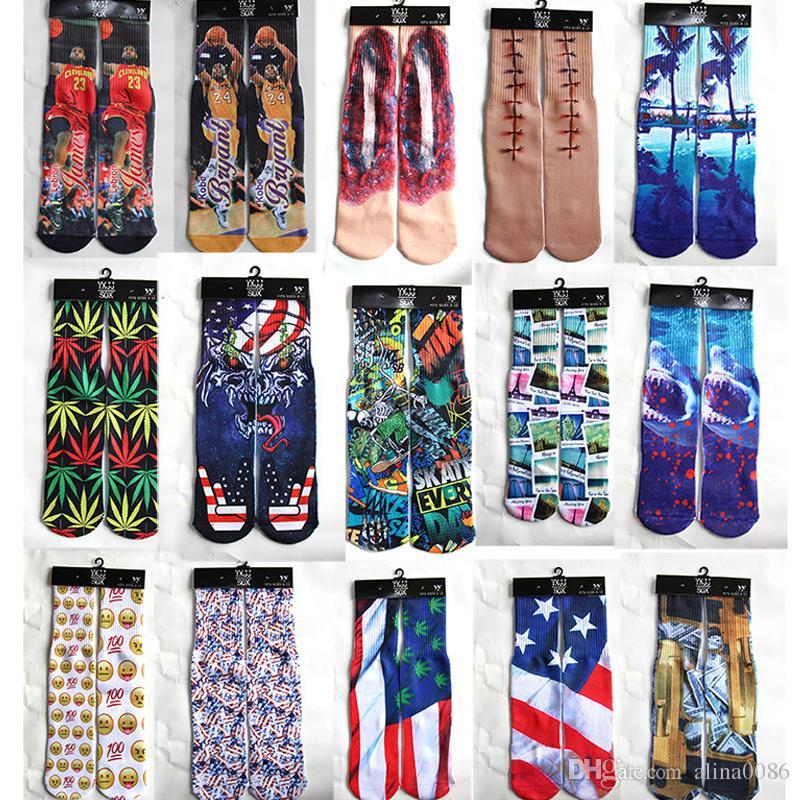 3D çorap 500 tasarım çocuklar kadınlar erkekler hip hop 3d çorap pamuk çorap 100pcs = 50pairs baskılı kaykay