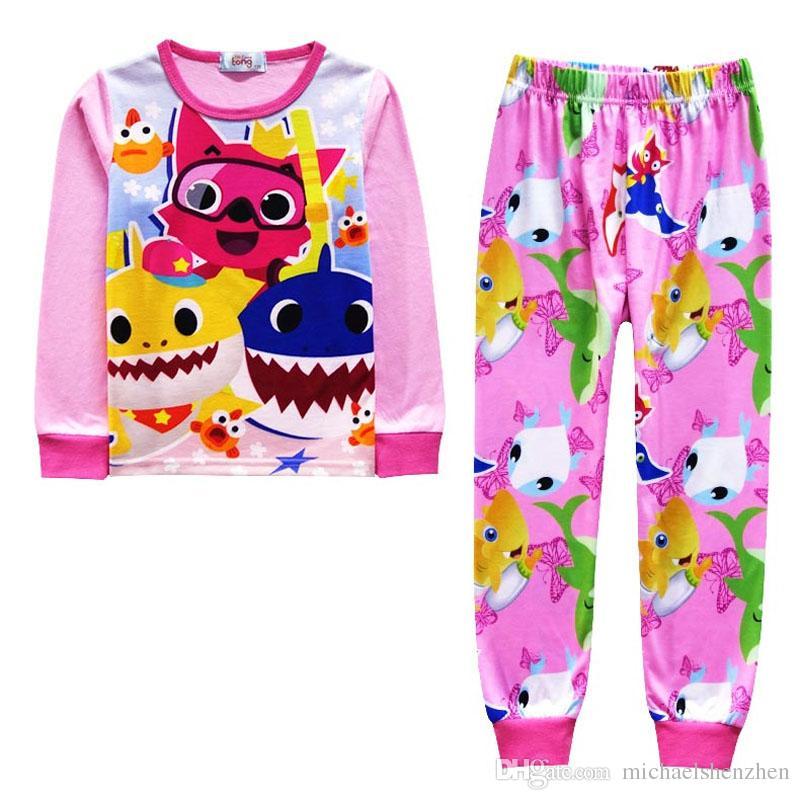 Kids Boys Baby Shark Short Sleeve T Shirt and Pants Pyjamas Set Nightwear