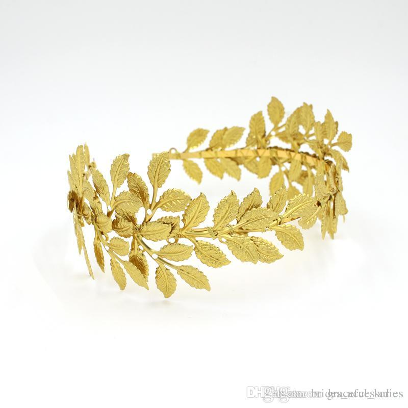 Gold Olive Leaves Tiaras For Brides Handmade Bridal Headband Hair Pieces Unique Bridal Headpiece Bridal Hair Accessories Floral Crown Bridal