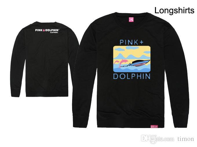 Magliette rosa delfino degli uomini di modo Magliette hip-hop di stampa dell'abito del cotone delle magliette a maniche lunghe di marca Maglietta superiore del o-collo Trasporto libero