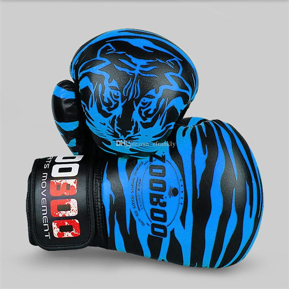 1 Pair PU Tiger Pattern Boxing Gloves Professional Sanshou Thai Kickboxing Gloves training Fighting Protective Full Finger Glove