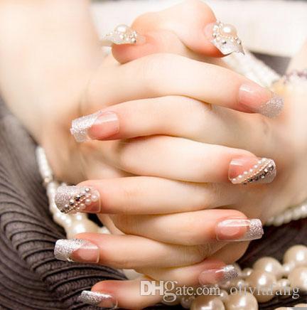 Brand FakeNails Bling Bling Shing 3d false nails 3x24 Tips Full Cover Bride Nails With Peal Decoration nails art Beauty home-use nail